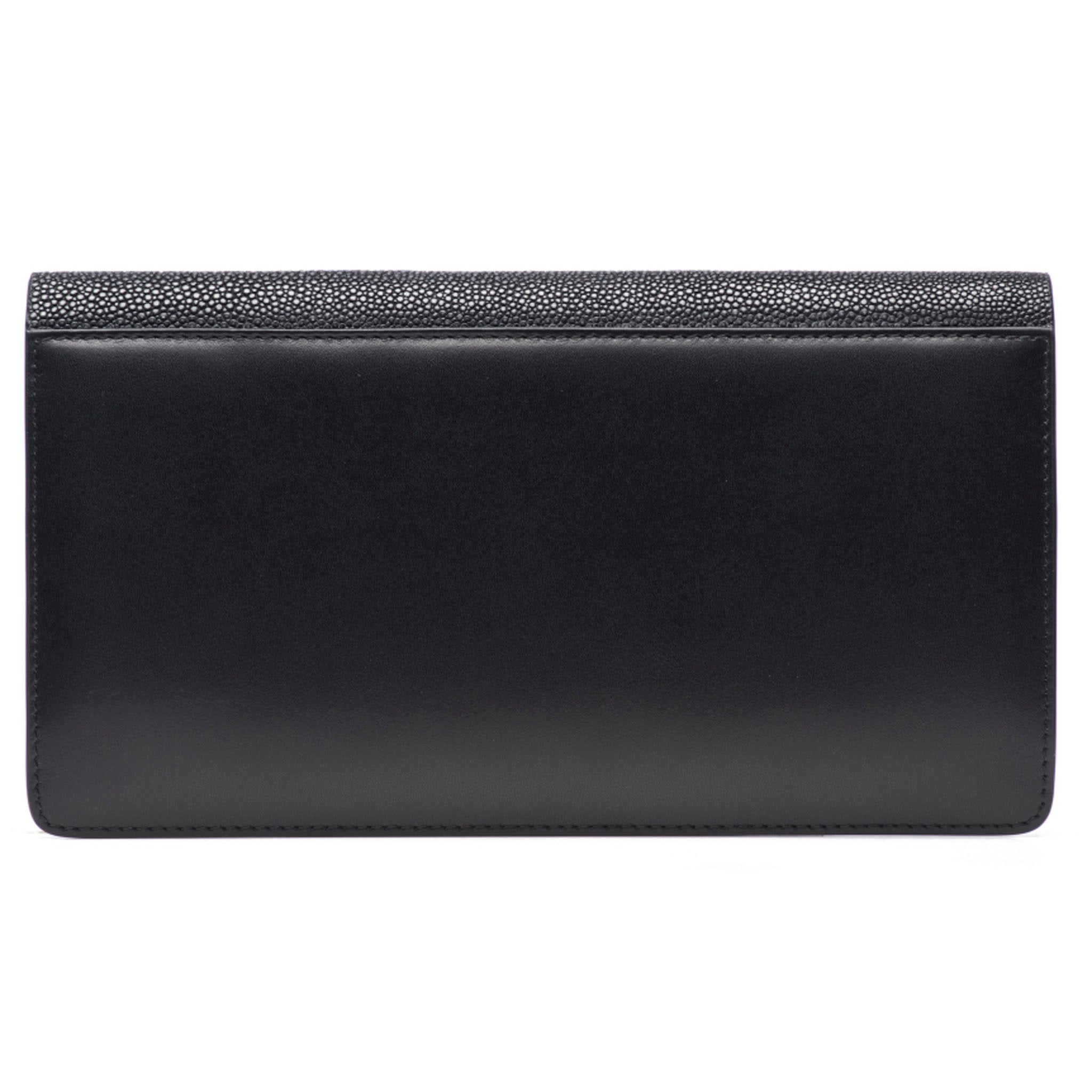 Black Shagreen Fold Front Wallet Clutch  Back View Bea II -Vivo Direct