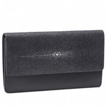 Load image into Gallery viewer, Bea II-Shagreen and Napa leather wallet or clutch-Black