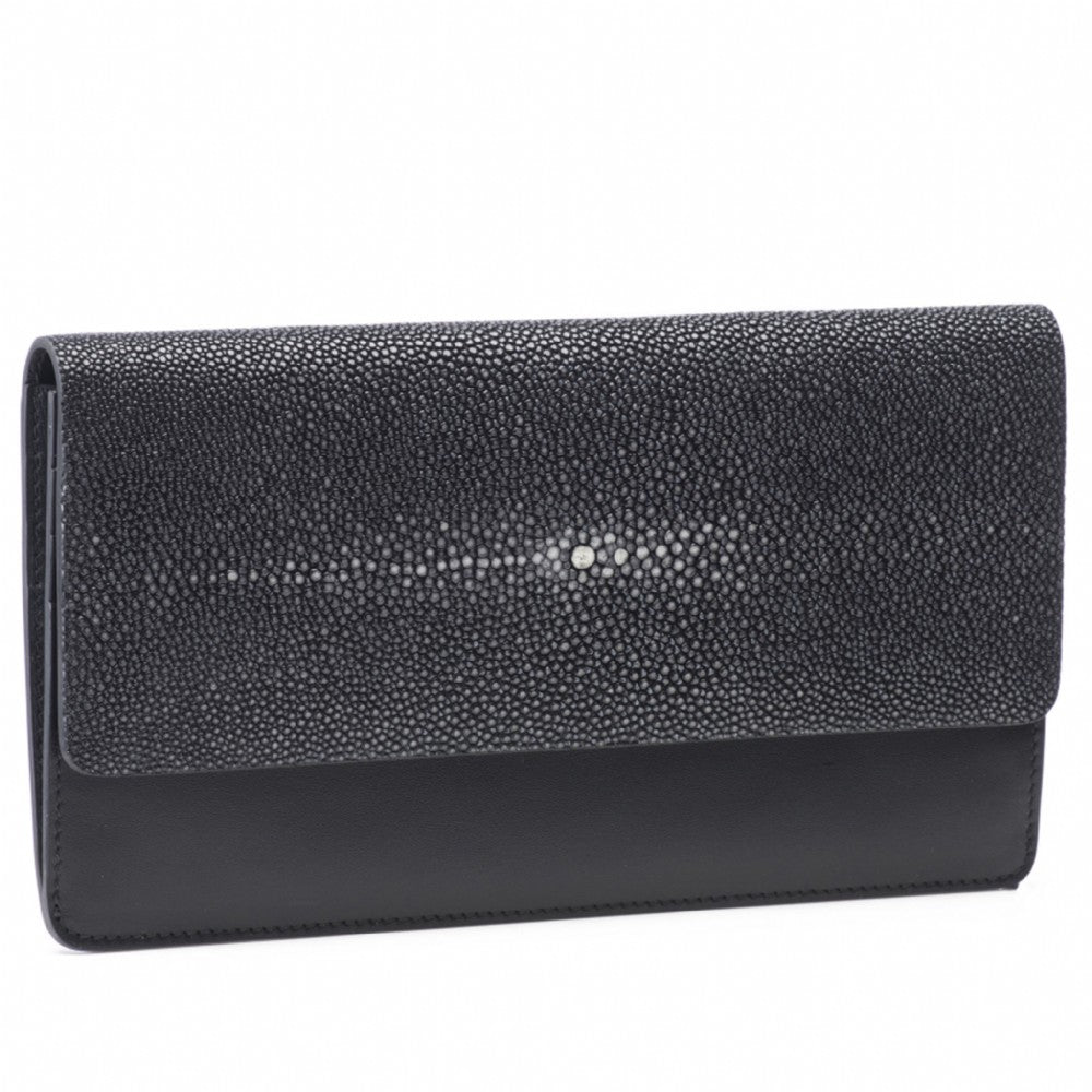Black Shagreen Fold Front Wallet Clutch  Front View Bea II -Vivo Direct