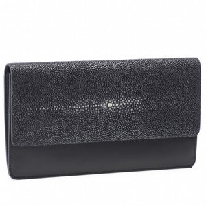 Bea II-Shagreen and Napa leather wallet or clutch-Black