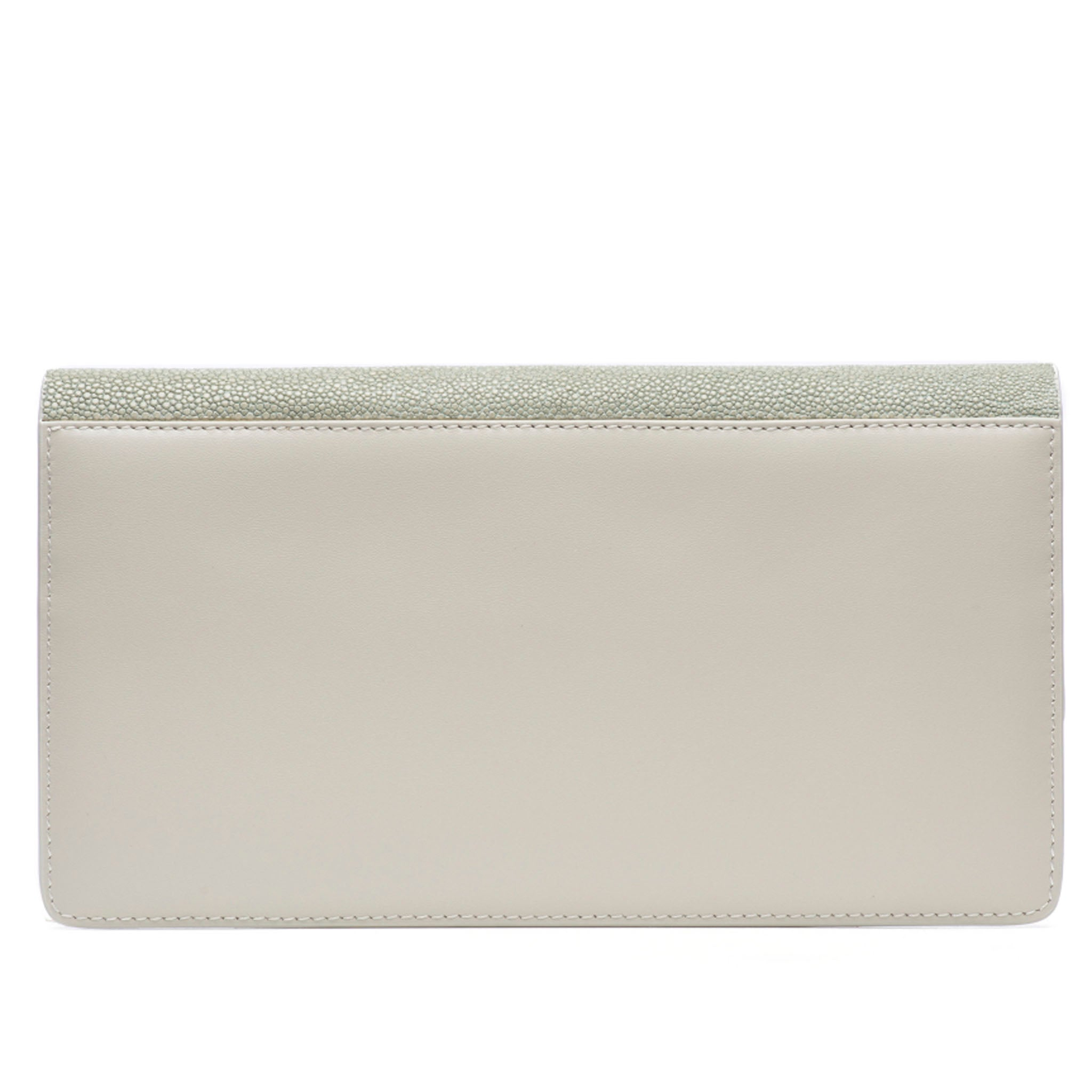 Cement Shagreen Fold Front Wallet Clutch  Back View Bea II -Vivo Direct