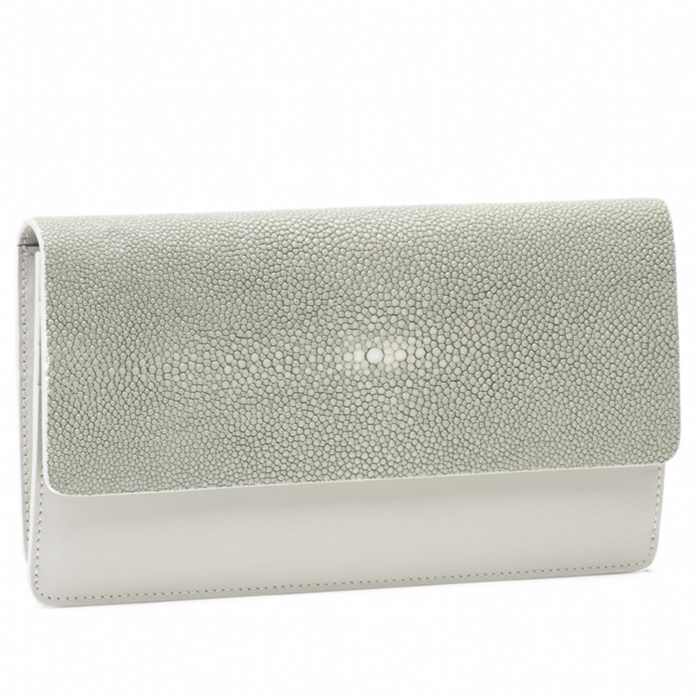Cement Shagreen Fold Front Wallet Clutch  Front View Bea II -Vivo Direct