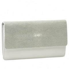 Bea II-Shagreen and Napa leather wallet or clutch-Cement