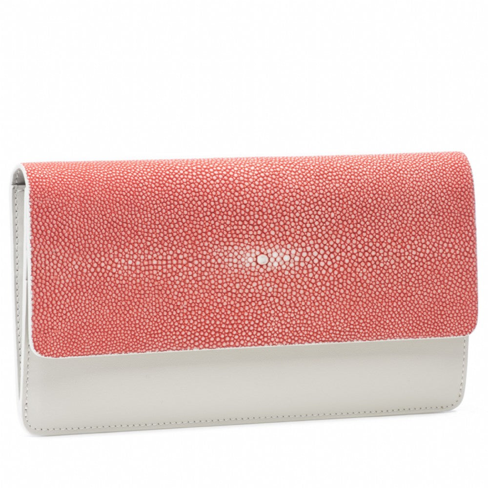 Hibiscus Shagreen Fold Front Wallet Clutch  Front View Bea II -Vivo Direct