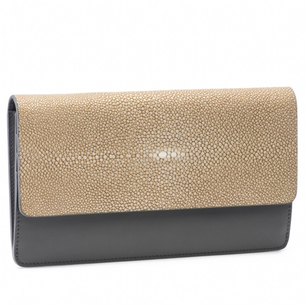 Putty Shagreen Fold Front Wallet Clutch  Front View Bea II -Vivo Direct