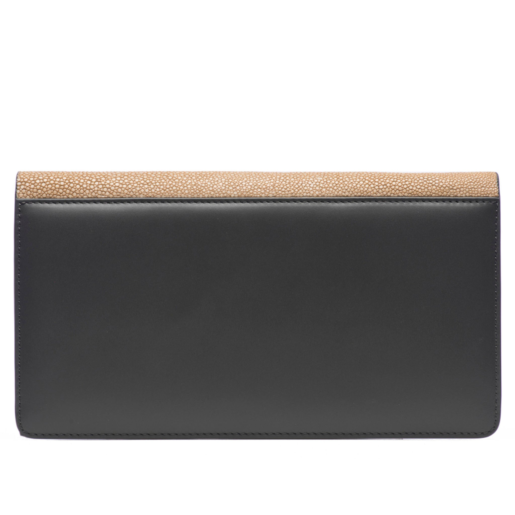 Putty Shagreen Fold Front Wallet Clutch  Back View Bea II -Vivo Direct