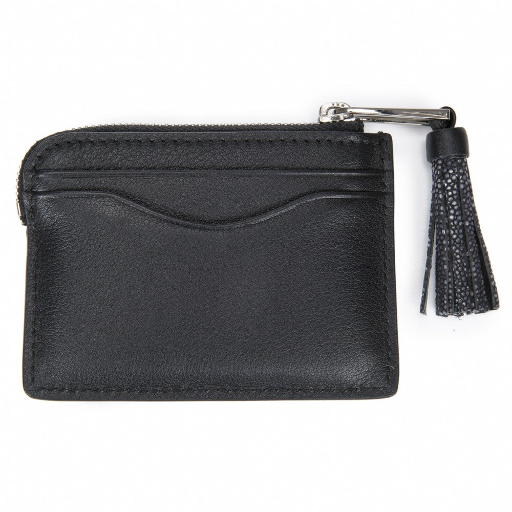 Black Leather Zipper Card Or Coin Case With Shagreen Tassel Pull Back View Avery - Vivo Direct