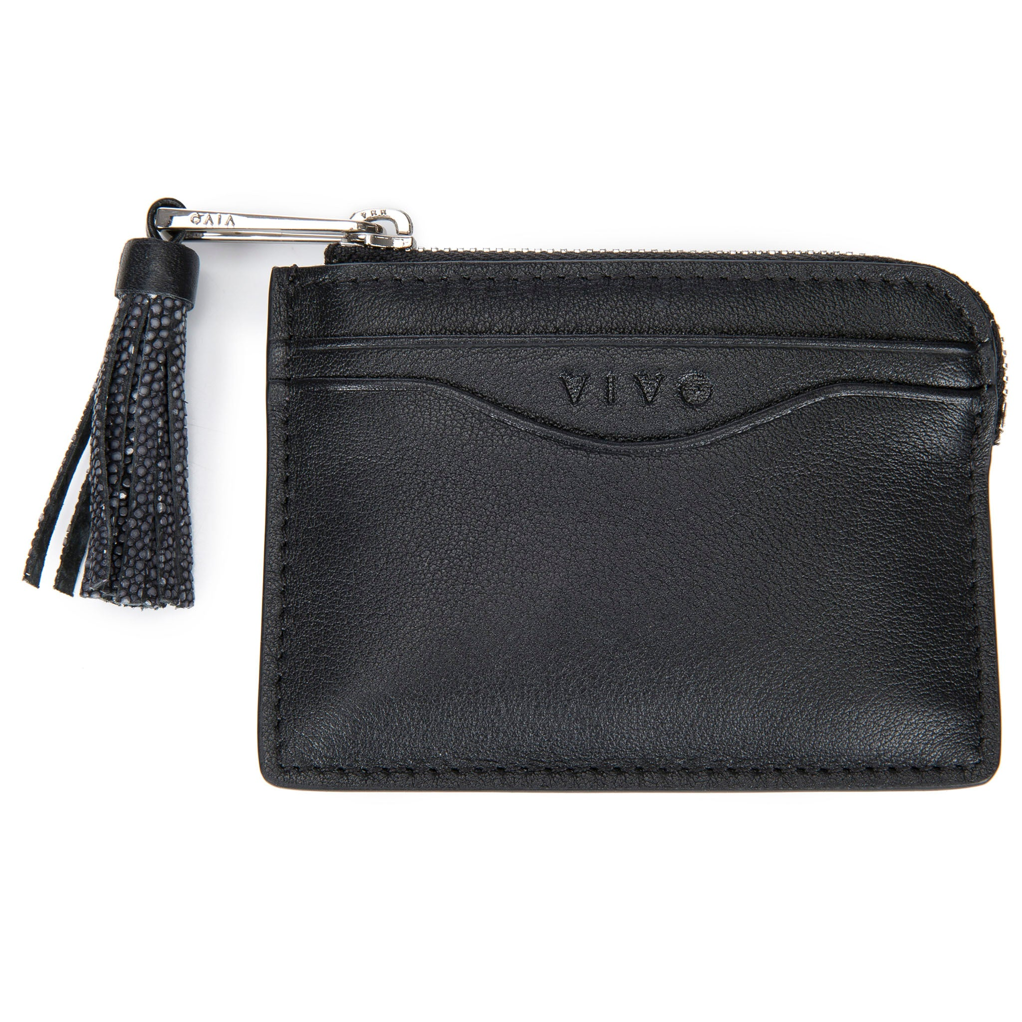 Black Leather Zipper Card Or Coin Case With Shagreen Tassel Pull Front View Avery - Vivo Direct