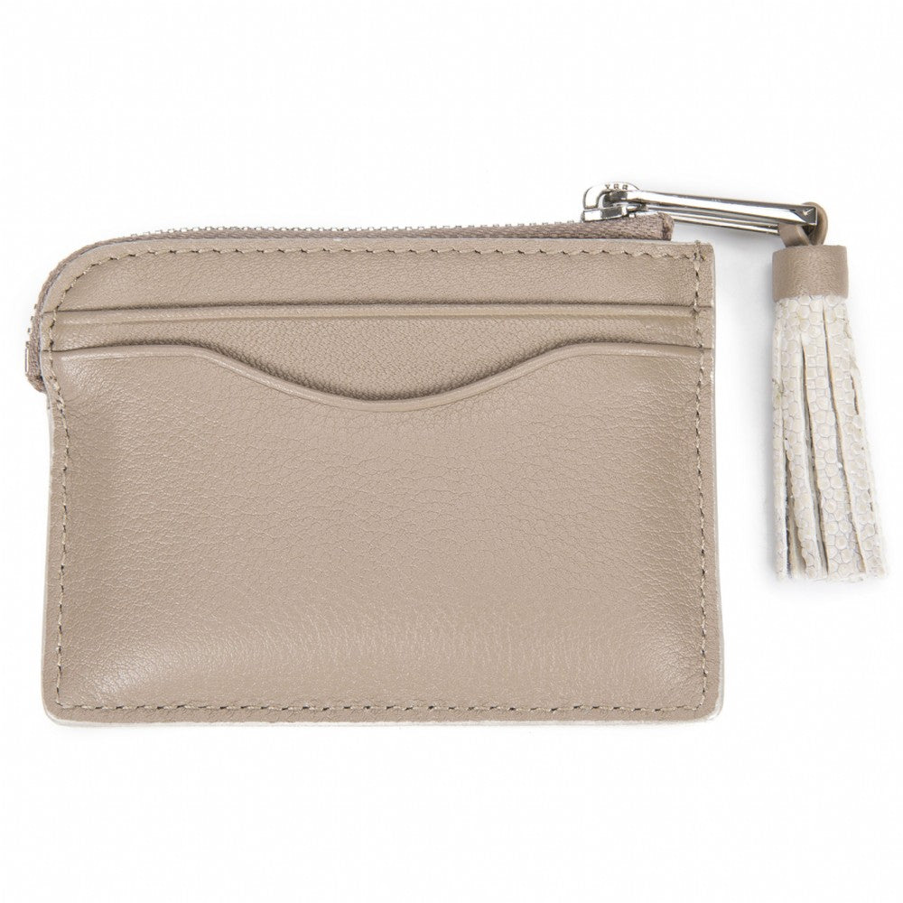 Buff Leather Zipper Card Or Coin Case With Shagreen Tassel Pull Back View Avery - Vivo Direct