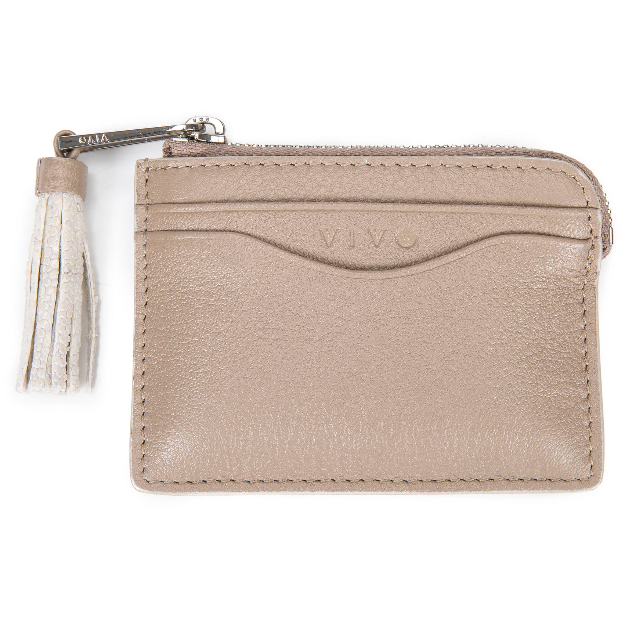 Buff Leather Zipper Card Or Coin Case With Shagreen Tassel Pull Front View Avery - Vivo Direct