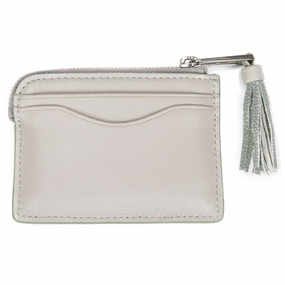 Ecru Leather Zipper Card Or Coin Case With Shagreen Tassel Pull Back View Avery - Vivo Direct