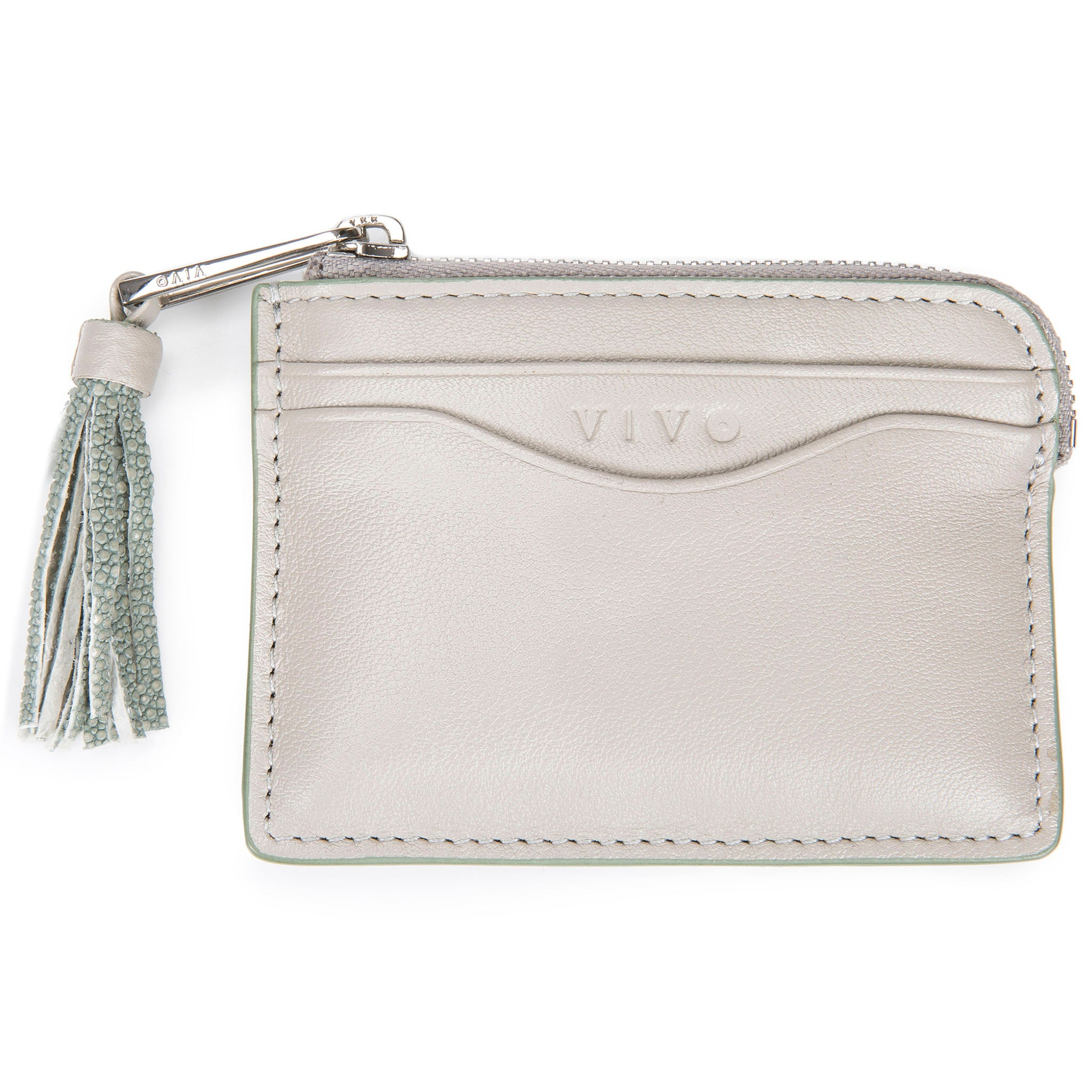 Ecru Leather Zipper Card Or Coin Case With Shagreen Tassel Pull Front View Avery - Vivo Direct