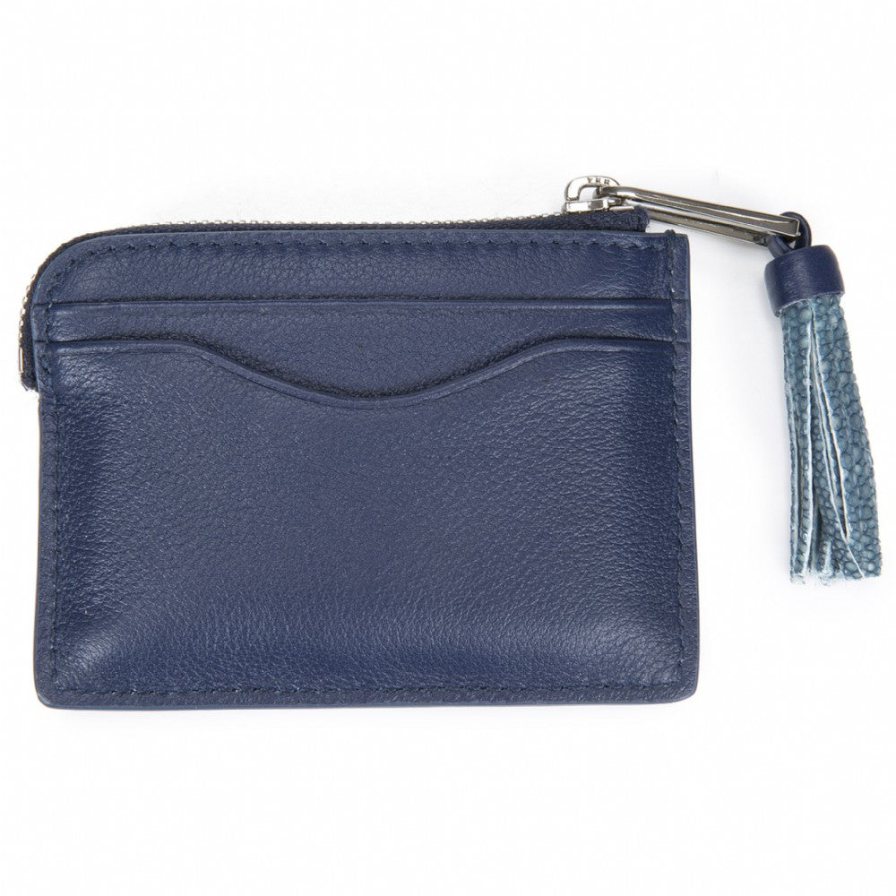 Navy Leather Zipper Card Or Coin Case With Shagreen Tassel Pull Back View Avery - Vivo Direct