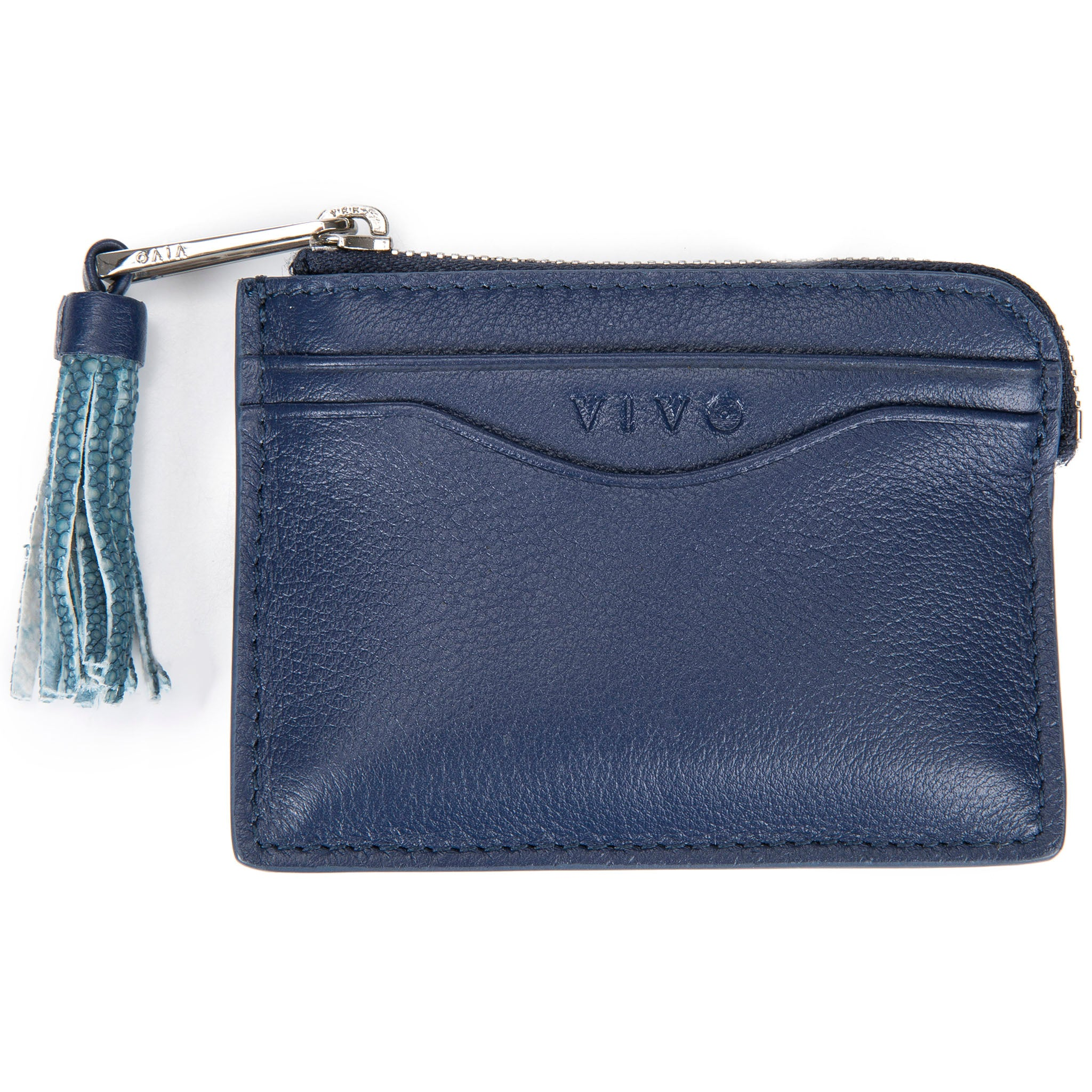 Navy Leather Zipper Card Or Coin Case With Shagreen Tassel Pull Front View Avery - Vivo Direct
