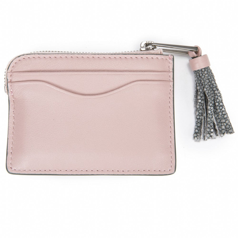 Pink Leather Zipper Card Or Coin Case With Shagreen Tassel Pull Back View Avery - Vivo Direct