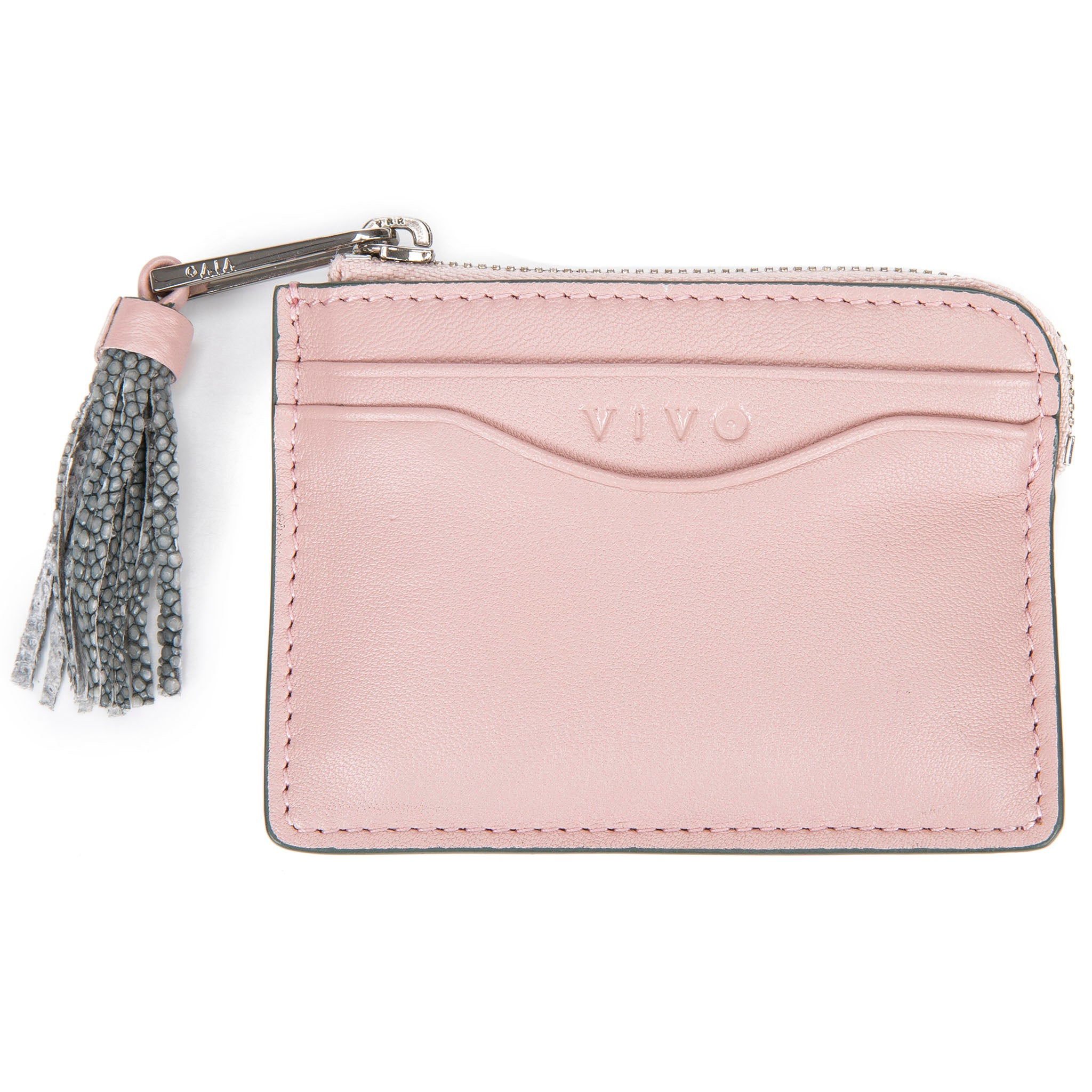 Pink Leather Zipper Card Or Coin Case With Shagreen Tassel Pull Front View Avery - Vivo Direct