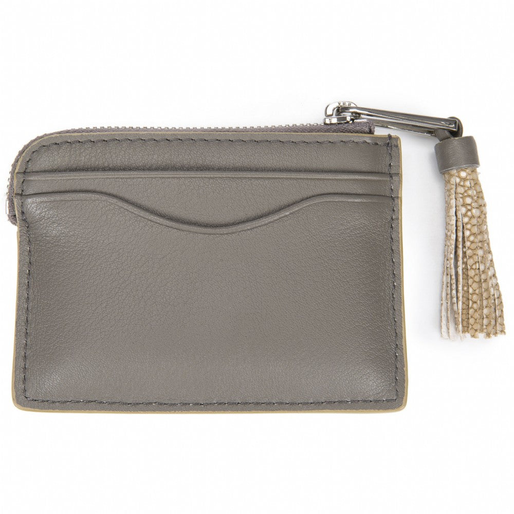 Smoke Leather Zipper Card Or Coin Case With Shagreen Tassel Pull Back View Avery - Vivo Direct