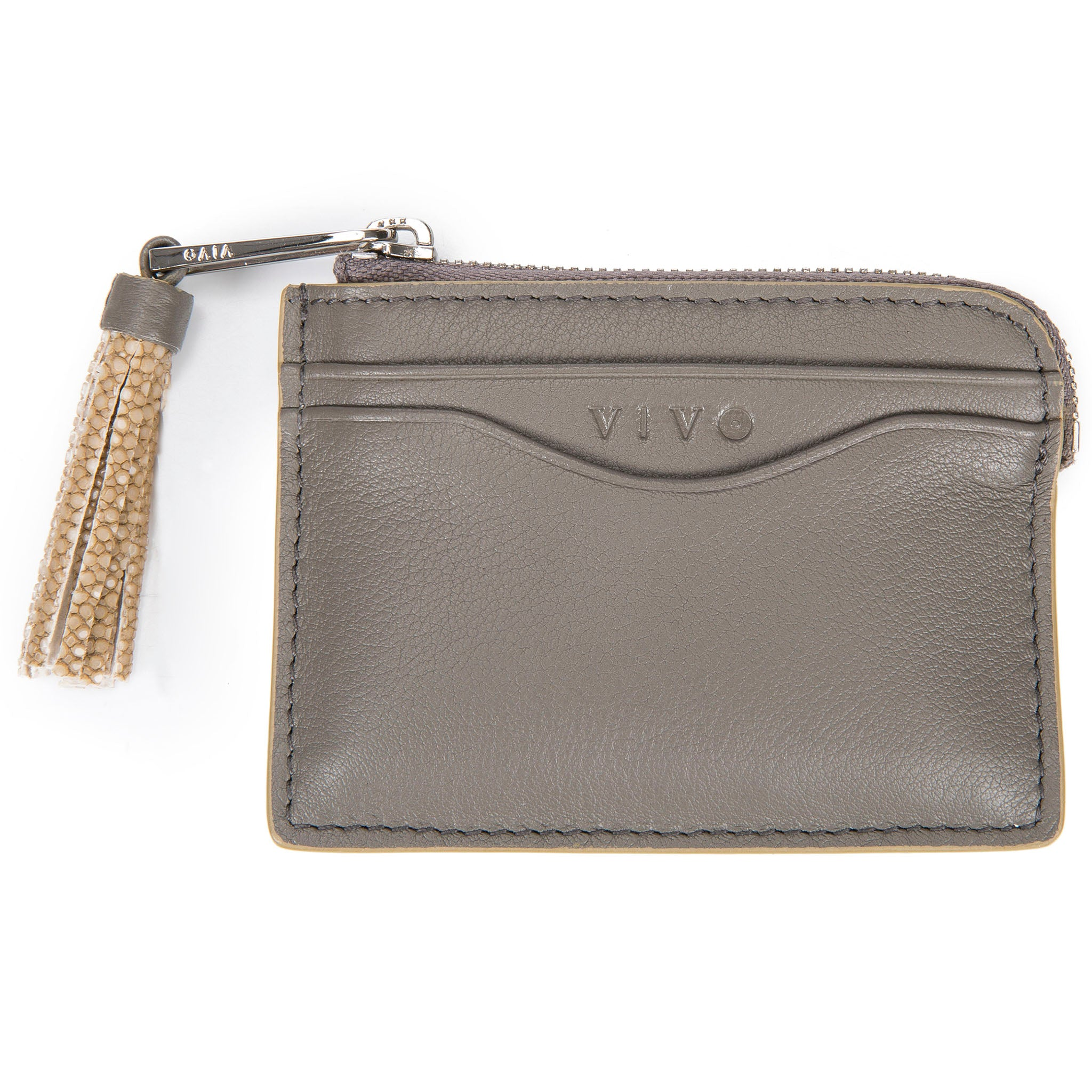 Smoke Leather Zipper Card Or Coin Case With Shagreen Tassel Pull Front View Avery - Vivo Direct