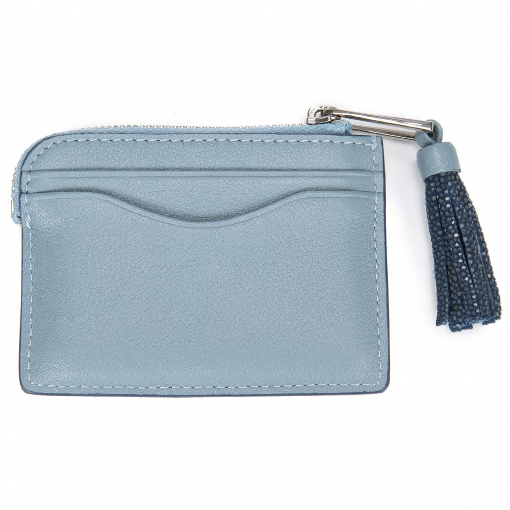 Light Blue Leather Zipper Card Or Coin Case With Shagreen Tassel Pull Back View Avery - Vivo Direct