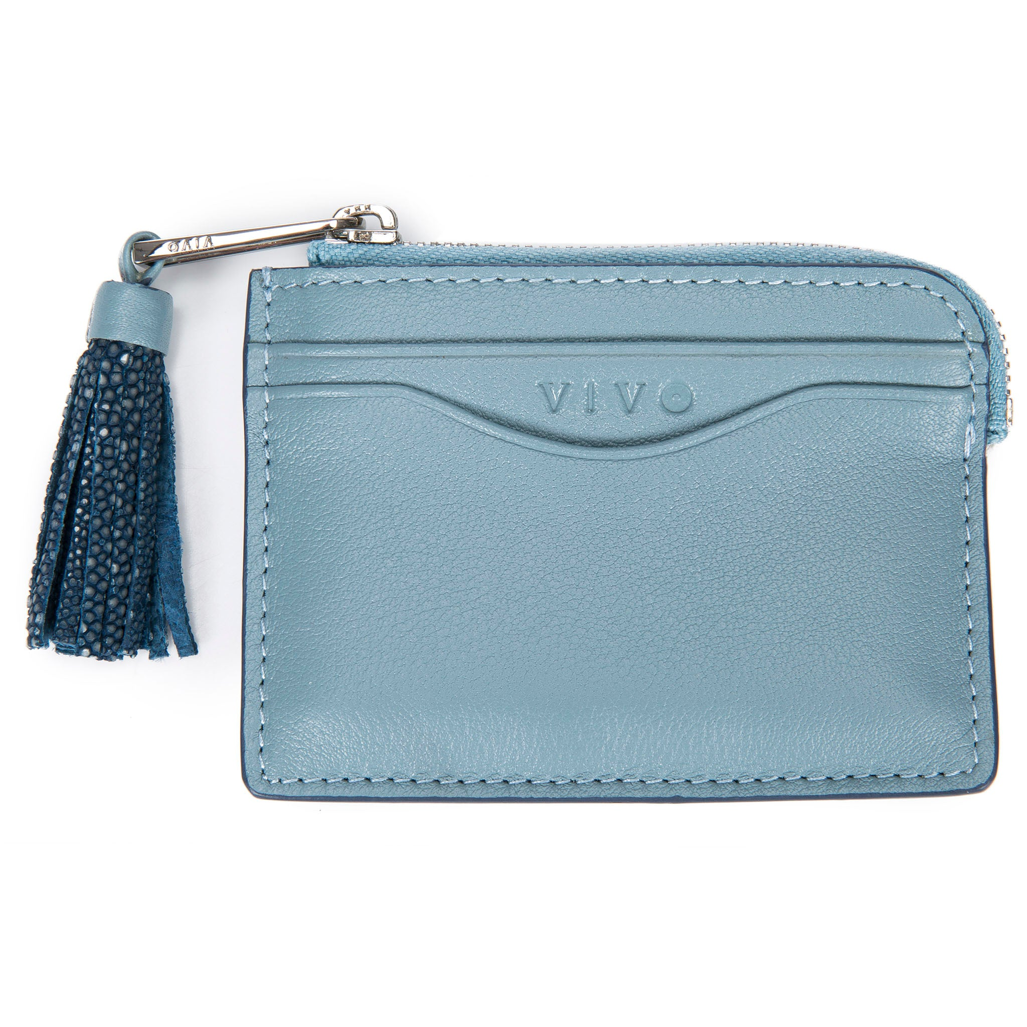 Light Blue Leather Zipper Card Or Coin Case With Shagreen Tassel Pull Front View Avery - Vivo Direct