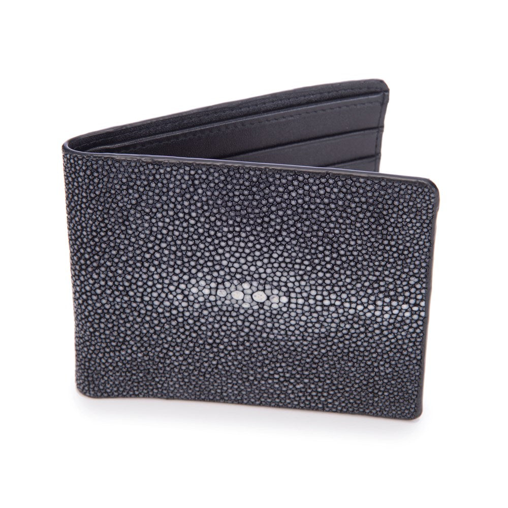 Shagreen Men's Billfold Black Front View Eric -Vivo Direct