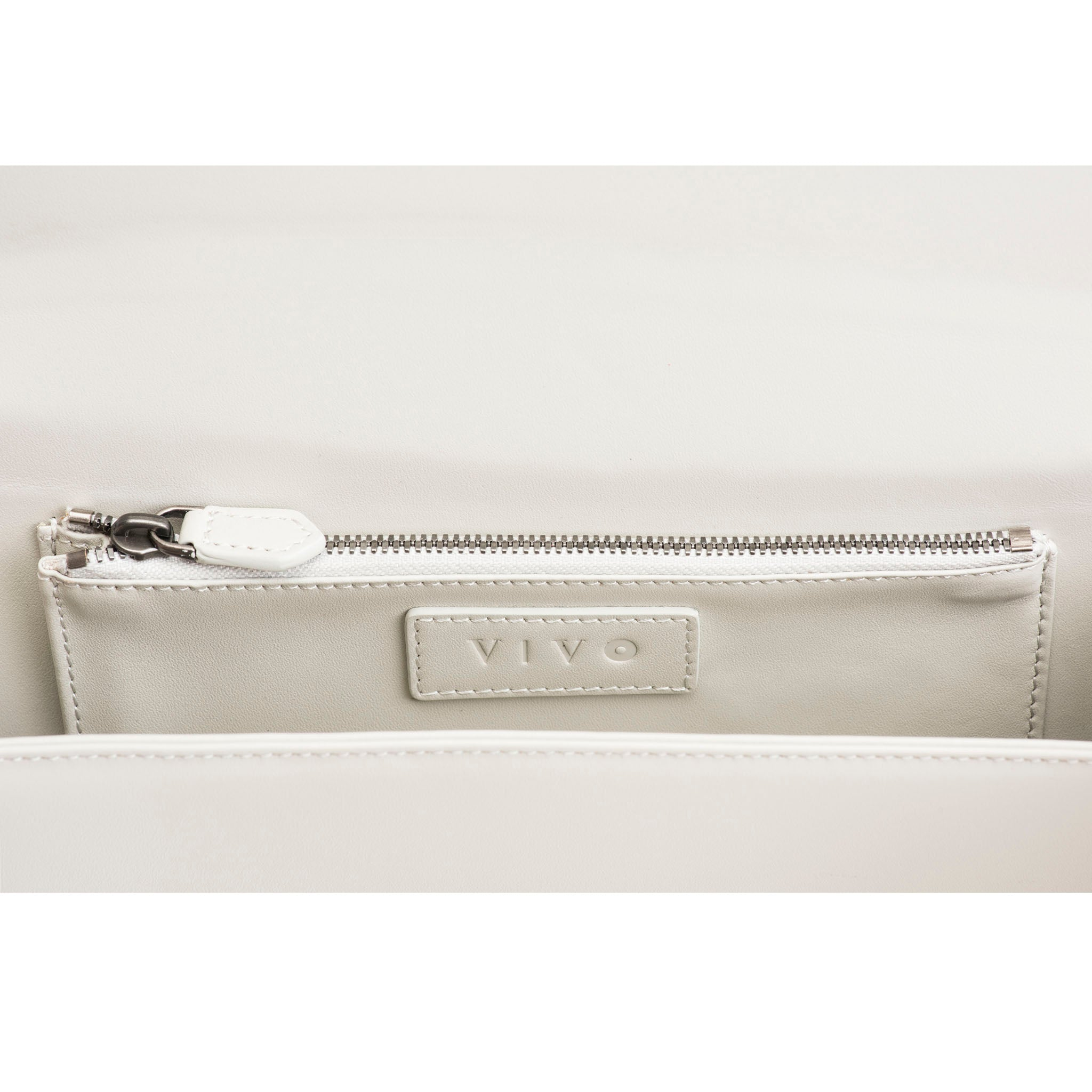 Oyster Leather Lining Inside Zip Pocket  View Cleo - Vivo Direct