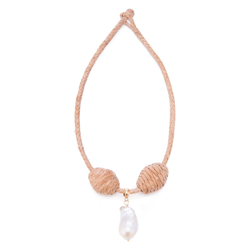 Leather Cord+ Bead  18, Lg Baroque Pearl