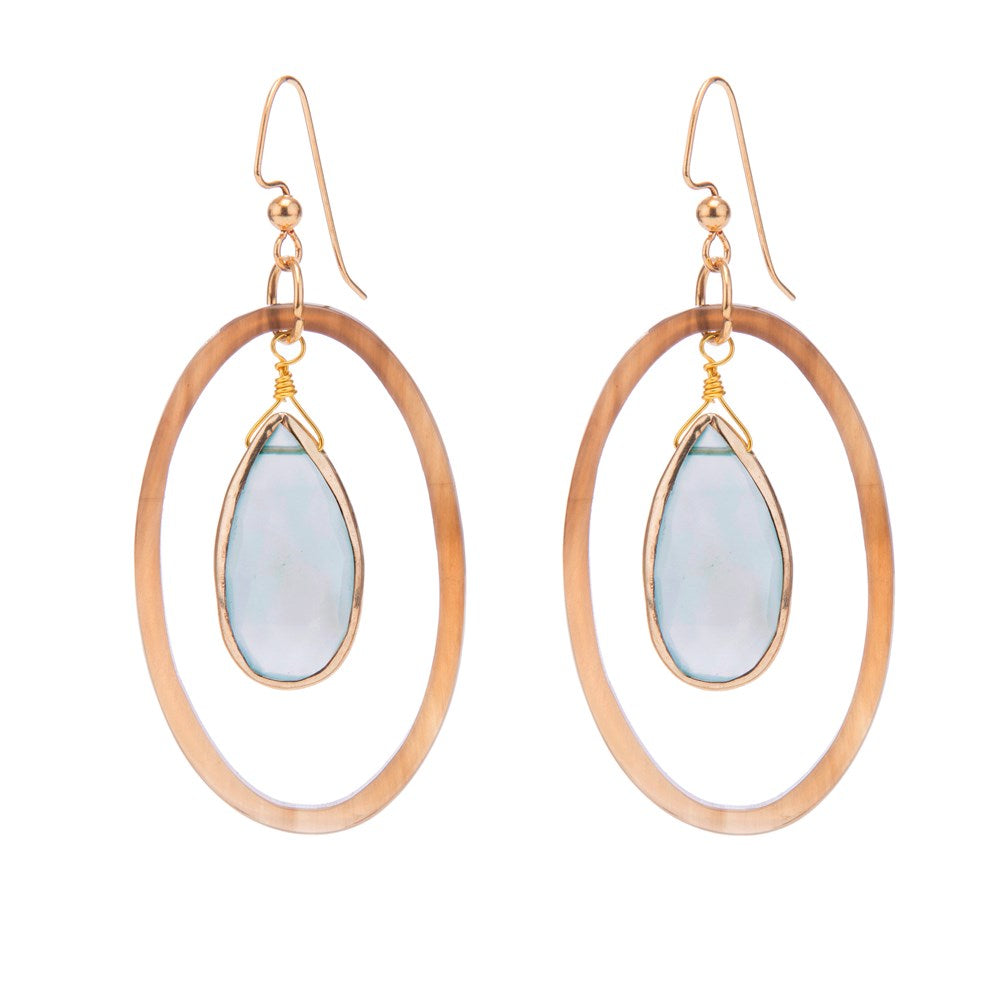 Horn Oval Aqua Chal Drop