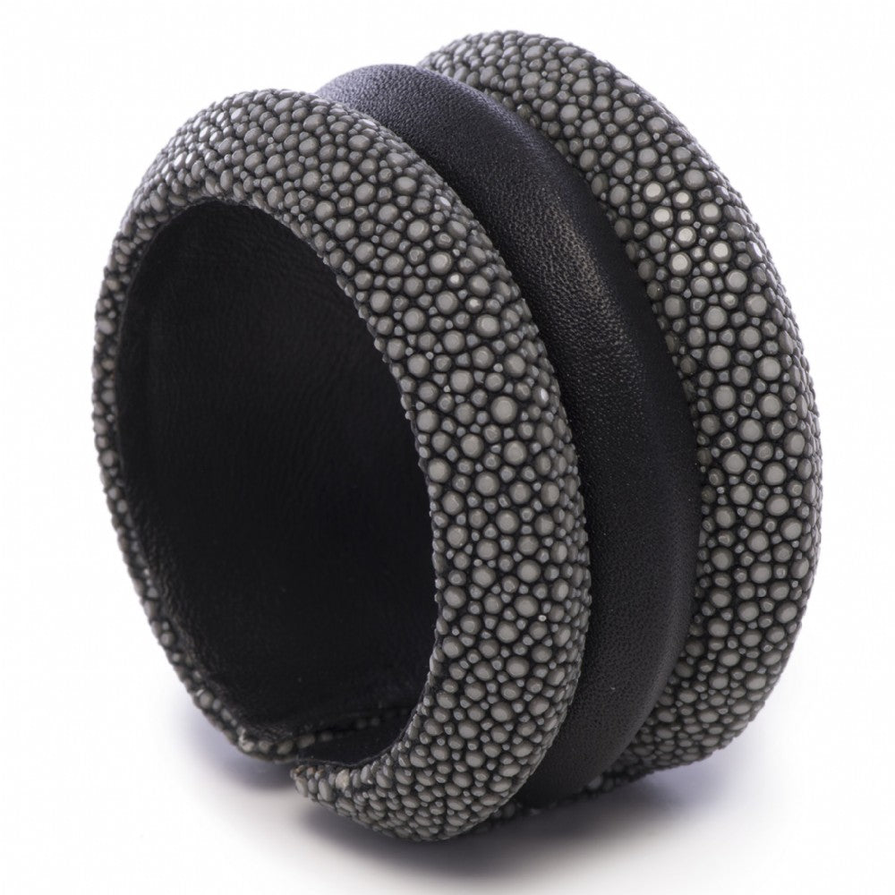 Shagreen And Leather Raised 3 Band Cuff