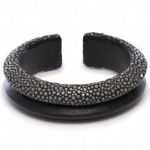 Load image into Gallery viewer, Shagreen Raised Double Band Cuff
