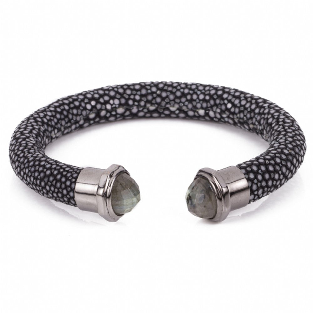 Shagreen cuff with faceted stone tips-Black