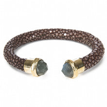 Load image into Gallery viewer, Shagreen Cuff Black Rhodium Labradorite Ends