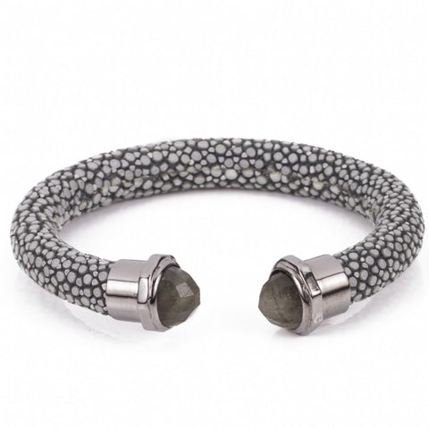 Shagreen cuff with faced stone tips-Gray