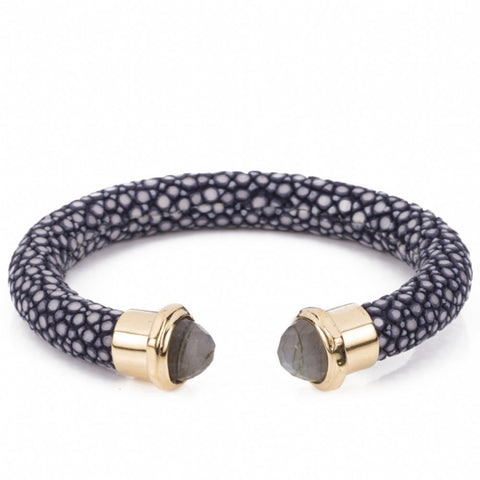 Shagreen cuff with faced stone tips-Ink
