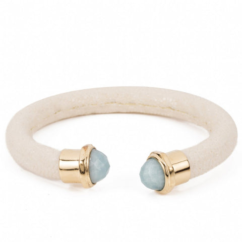 Shagreen cuff with faced stone tips-Ivory