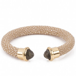Shagreen cuff with faceted stone tips-Latte