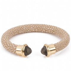 Shagreen cuff with faced stone tips-Latte