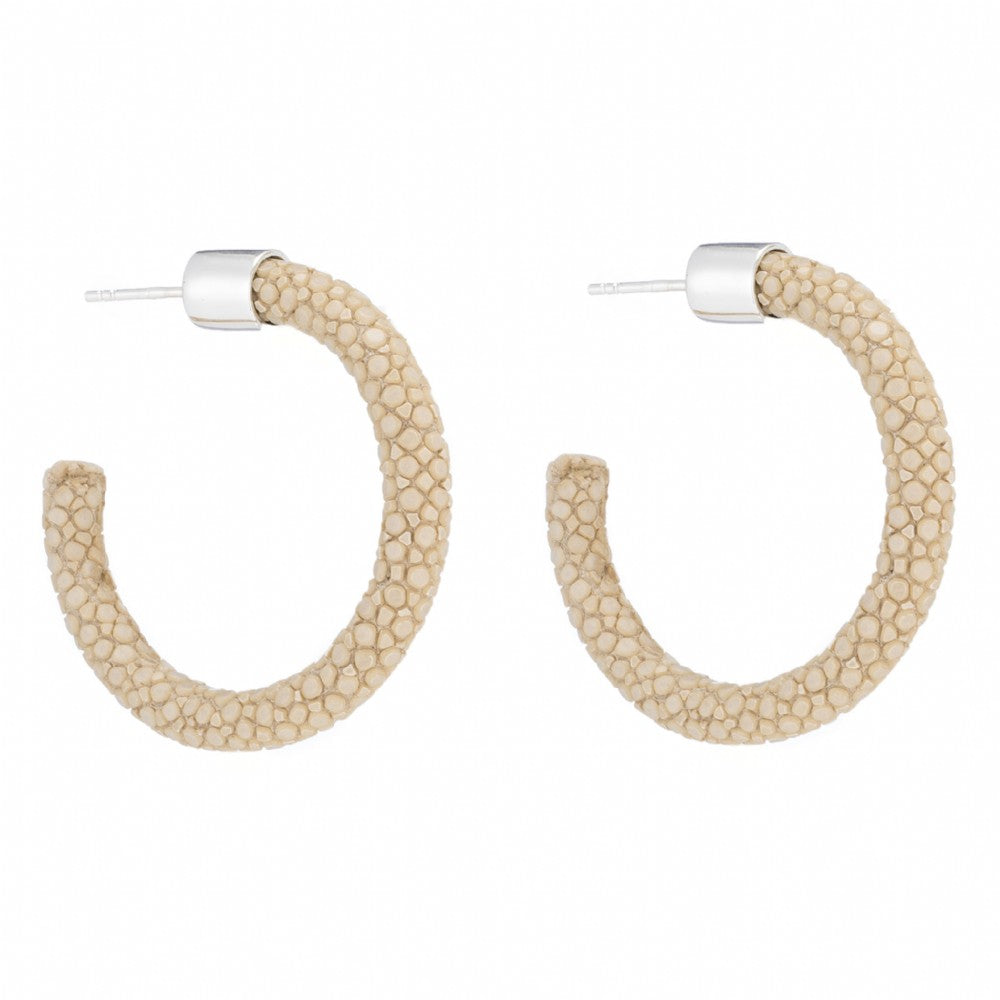 Small Genuine Shagreen Hoop-Latte