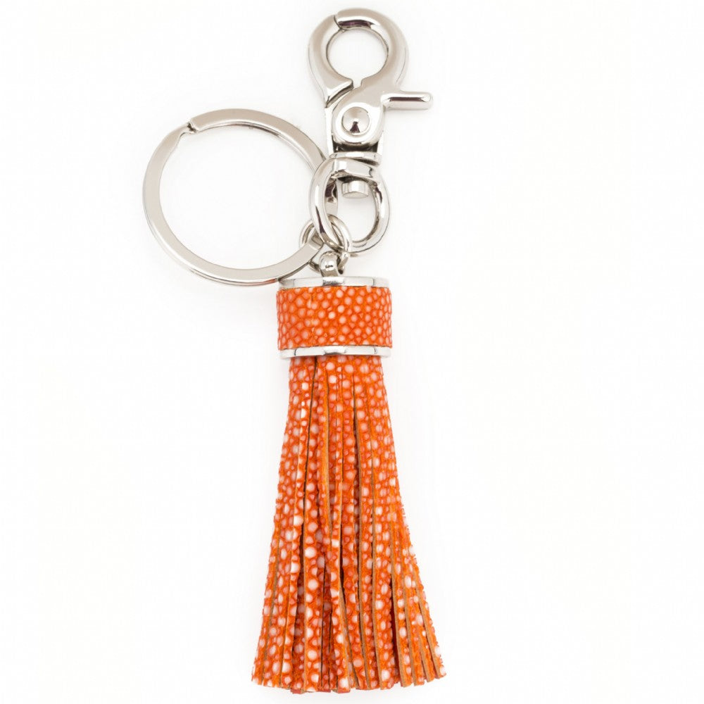 Shagreen Tassel Key Ring With Clip- Orange