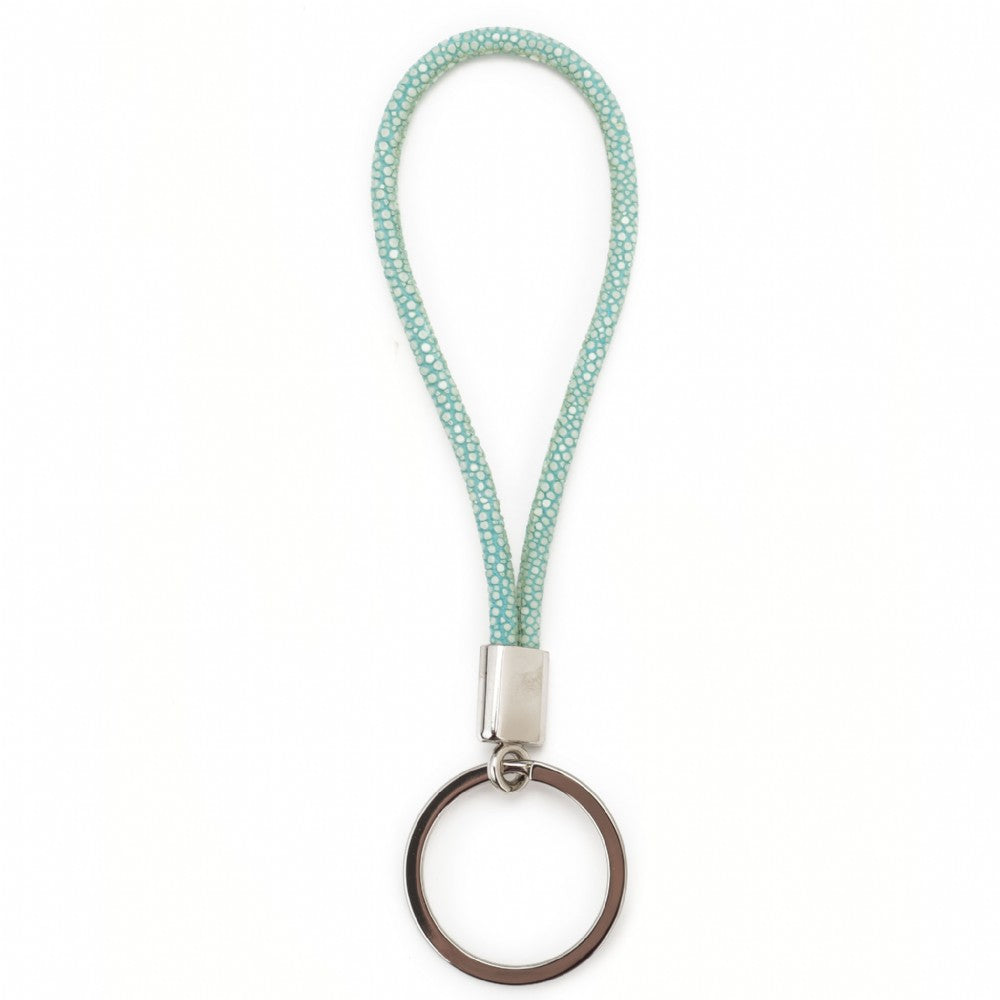 Shagreen Cord Key Ring - Aqua