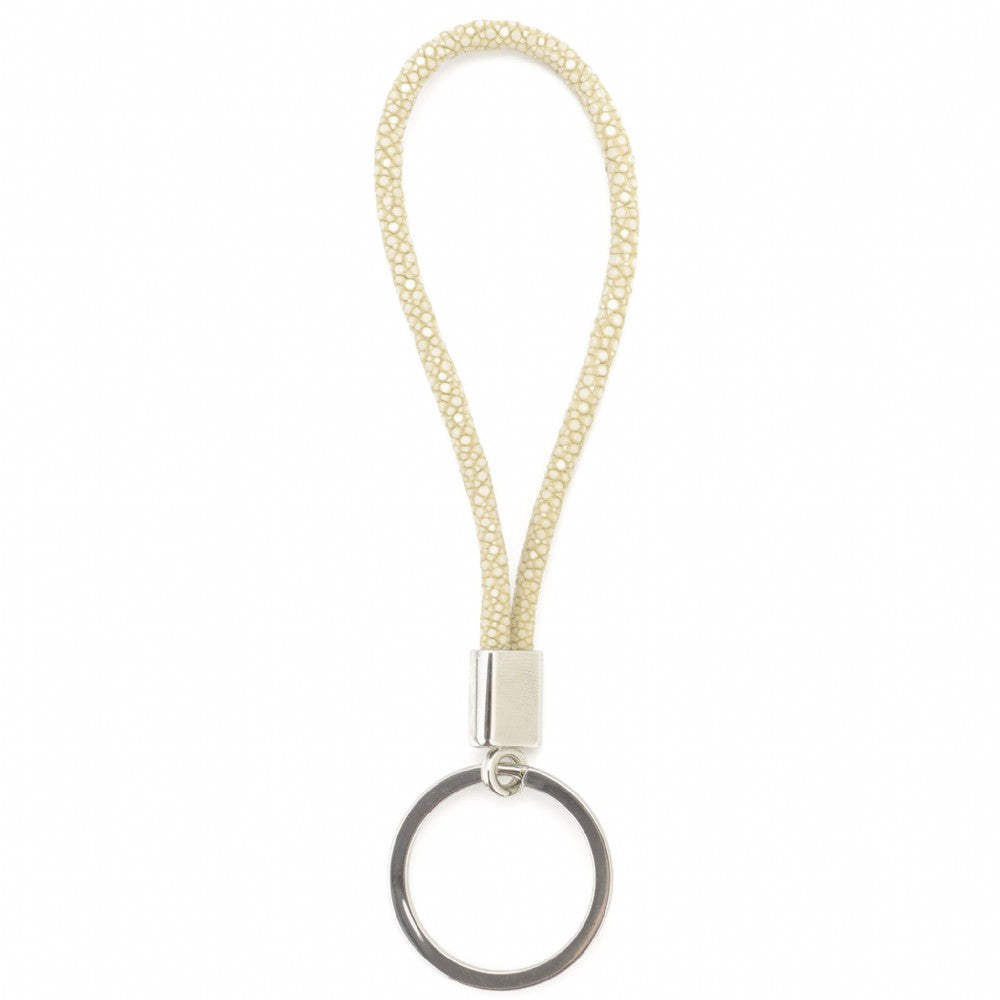 Shagreen Cord Key Ring - Ivory