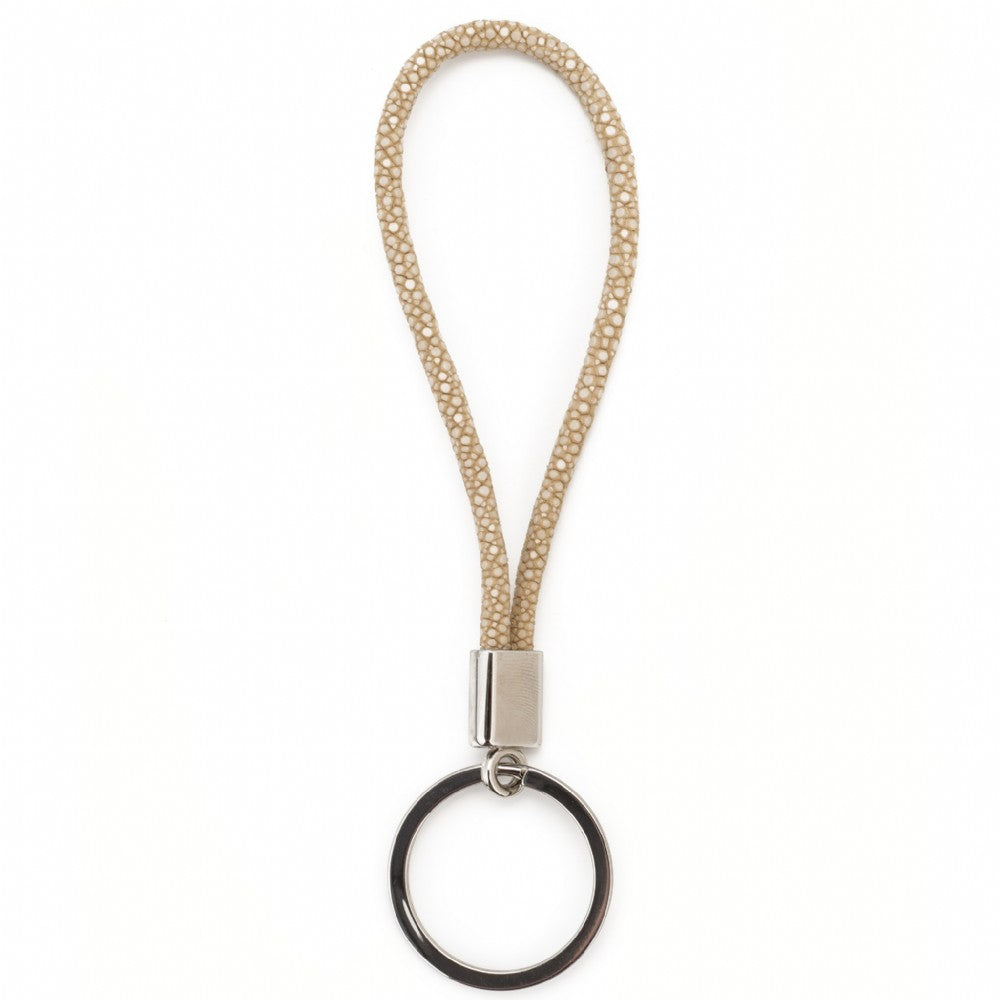 Shagreen Cord Key Ring - Latte