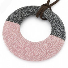 Load image into Gallery viewer, Shagreen Circle Pedant - Gray/Pink