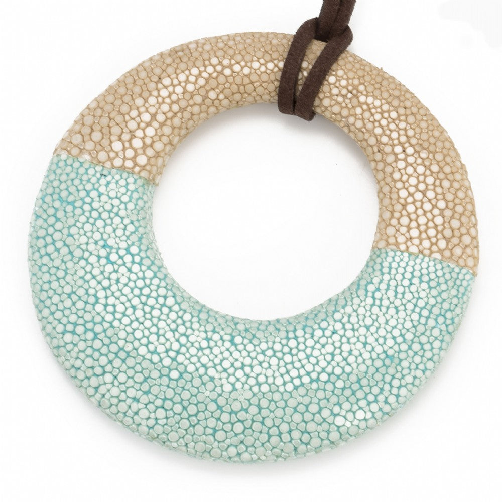 Shagreen Circle Pedant - Latte/Aqua