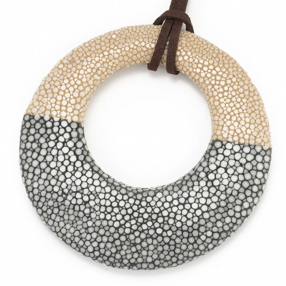 Shagreen Circle Pedant - Latte/Gray
