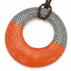 Shagreen Circle Pedant - Gray/Orange