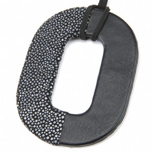 Oval Shagreen and Leather Pendant