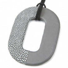 Load image into Gallery viewer, Oval Shagreen and Leather Pendant