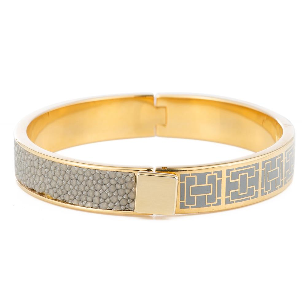CORFU Hinged enamel bangle, inlay