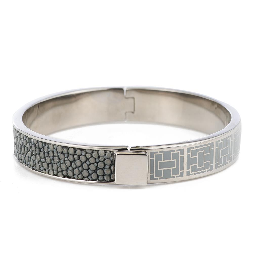CORFU Hinged gray enamel bangle, inlay